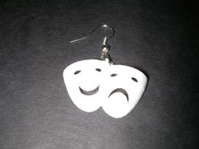 Tragedy & Comedy Mask Earring in White Natural Versatile Plastic