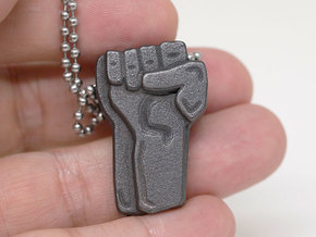 RESIST | RAISED FIST PENDANT in Polished and Bronzed Black Steel