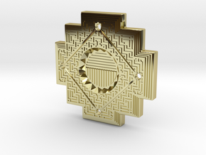 Inca Cross Amulet in 18k Gold Plated Brass: Small