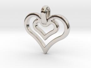 heart jewel in Rhodium Plated Brass