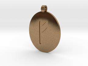 Fehu Pendant  in Natural Brass
