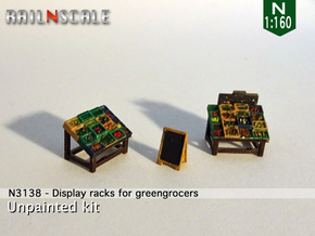 Display racks for greengrocers (N 1:160) in Smooth Fine Detail Plastic