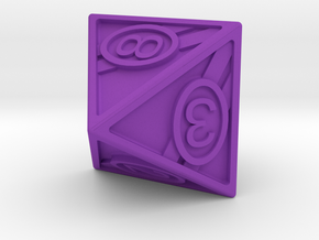 8-sided die - racing stripes in Purple Strong & Flexible Polished