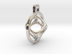 Cube Pendant in Rhodium Plated Brass