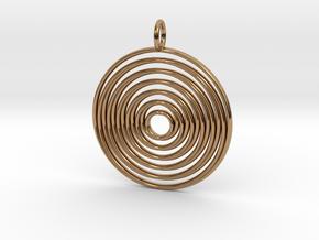 "Pendant ""Spiralinsky"" 28mm Diameter + Loop in Polished Brass"