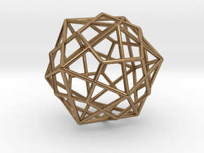 """Icosahedron Dodecahedron Combination 1.6"""" in Natural Brass"""