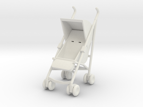 1:12 Stroller in White Natural Versatile Plastic