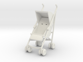 1:24 Stroller in White Natural Versatile Plastic