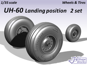 1/35 UH-60 Wheels & Tires Landing position 2 set in Frosted Ultra Detail