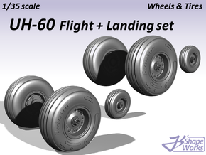 1/35 UH-60 Wheels & Tires Flight + Landing set in Smooth Fine Detail Plastic