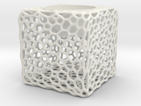 Candel Holder Voronoi in White Natural Versatile Plastic