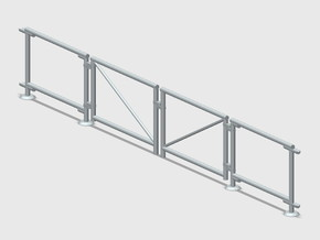 6' Chain-link Double Gate in White Natural Versatile Plastic: 1:87 - HO