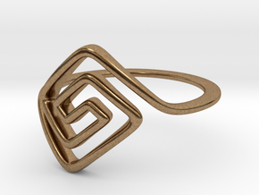 Square Spiral Ring in Natural Brass: 7 / 54