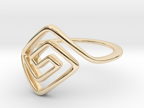 Square Spiral Ring in 14k Gold Plated Brass: 7 / 54