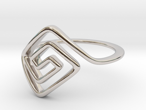 Square Spiral Ring in Rhodium Plated Brass: 7 / 54