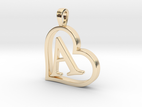 Alpha Heart 'A' Series 1 in 14k Gold Plated Brass