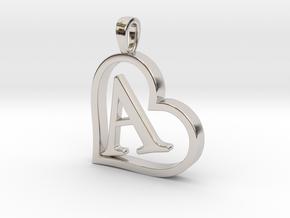 Alpha Heart 'A' Series 1 in Rhodium Plated Brass