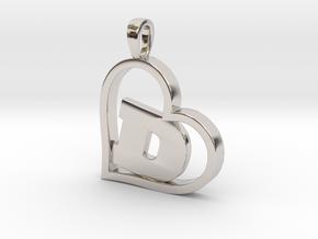 Alpha Heart 'D' Series 1 in Rhodium Plated Brass