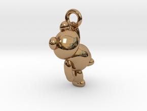 Teddy Bear Pendant - 3cm in Polished Brass