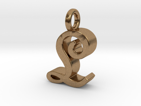 L - Pendant - 3 mm thk. in Natural Brass