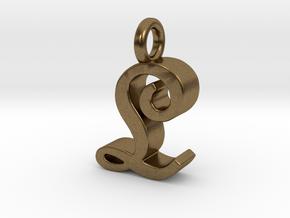 L - Pendant - 3 mm thk. in Natural Bronze