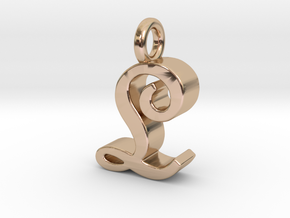 L - Pendant - 3 mm thk. in 14k Rose Gold Plated Brass