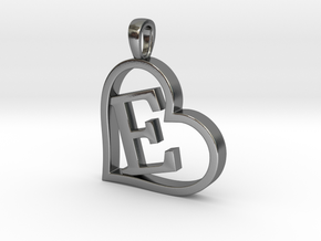 Alpha Heart 'E' Series 1 in Polished Silver