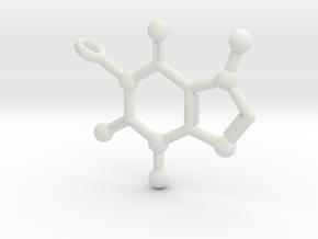 Caffeine Molecule Keychain in White Natural Versatile Plastic