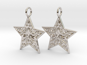 Christmas Star Earrings in Rhodium Plated Brass