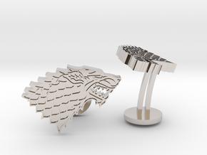 Game of Thrones House of Stark Cufflinks in Rhodium Plated Brass