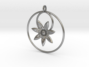 YyFlower Pendant in Natural Silver