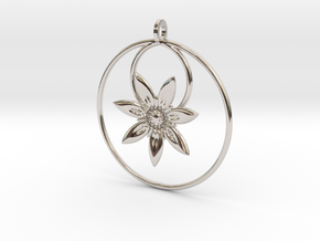 YyFlower Pendant in Rhodium Plated Brass