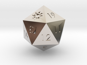 D20 White Mana Symbol (MTG)  in Rhodium Plated Brass: Extra Small