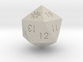 D20 White Mana Symbol (MTG)  in Natural Sandstone: Medium