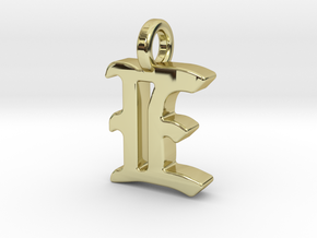 E - Pendant - 2mm thk. in 18k Gold Plated