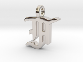 F - Pendant - 2mm thk. in Rhodium Plated Brass