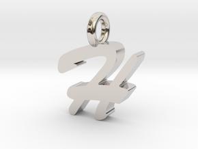 H - Pendant - 2mm thk. in Rhodium Plated Brass