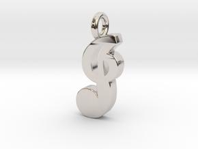 J - Pendant - 2mm thk. in Rhodium Plated Brass