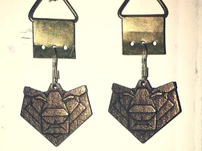 Lion Origami Earring in Polished Bronze Steel