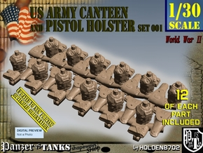 1-30 US Pistol Holster-Canteen WWII Set001 in Smooth Fine Detail Plastic