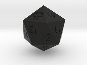 D20 Black Mana Symbol (MTG) in Black Natural Versatile Plastic: Medium
