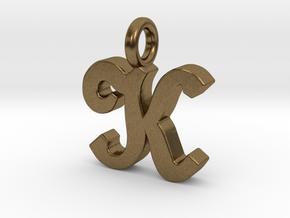 K - Pendant - 2mm thk. in Natural Bronze