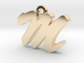 M - Pendant - 2mm thk. in 14K Yellow Gold