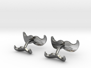 Mustache Cufflinks in Polished Silver