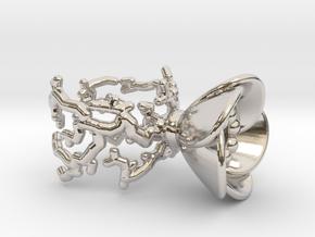Half open flower ring (US sizes 1.5 – 5.5) in Rhodium Plated Brass: 2.5 / 42.75