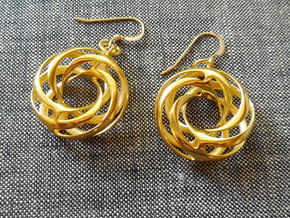 Twisted Torus Earrings in Precious Metals in 18k Gold Plated Brass
