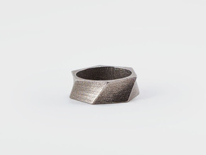 Twisted Ring in Polished Bronzed Silver Steel: 7 / 54