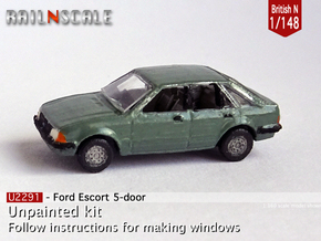 Ford Escort 5-door (British N 1:148) in Smooth Fine Detail Plastic