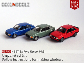 SET 3x Ford Escort Mk3 (British N 1:148) in Smooth Fine Detail Plastic