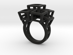 Kubusring-2 / Cubesring-2 layers in Black Natural Versatile Plastic: 6.5 / 52.75